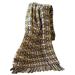 Manual Indoor Outdoor Woven Plaid Sage Basketweave Fringed Throw Blanket AIWVSG 50x60 Green