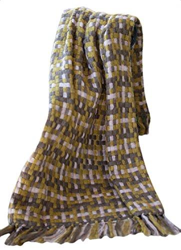 Manual Indoor Outdoor Woven Plaid Sage Basketweave Fringed Throw Blanket AIWVSG 50x60