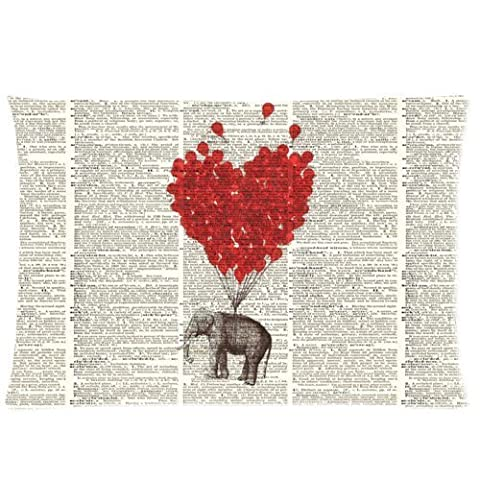 Personalized Elephant Red Balloon On Vintage Dictionary PageBackground Pillowcase Standard 16x24 Inch Two Sides Pillow Cover,Mina-shop
