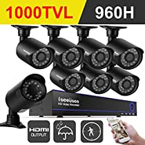 ISEEUSEE 960H 8CH HDMI DVR Video CCTV Security Camera System With 8pcs Outdoor/Indoor IR-CUT Night Vision Cameras Surveillance Kit, Mobile Remote Access/Live Viewing, NO Hard Drive