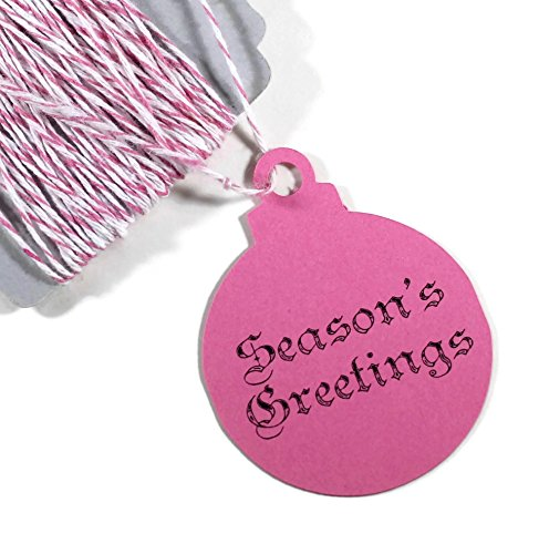 Hot Pink Holiday Ornament Gift Tags - Season's Greetings Present Tags (Set of 10)