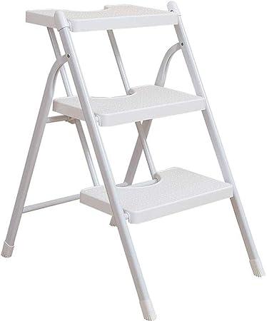 RANRANJJ Escalera Plegable para el hogar - Escalera de Tijera Plegable Blanca Liviana con Taburete de Escalera de Acero con Pedales robustos y Anchos Antideslizantes: Amazon.es: Hogar
