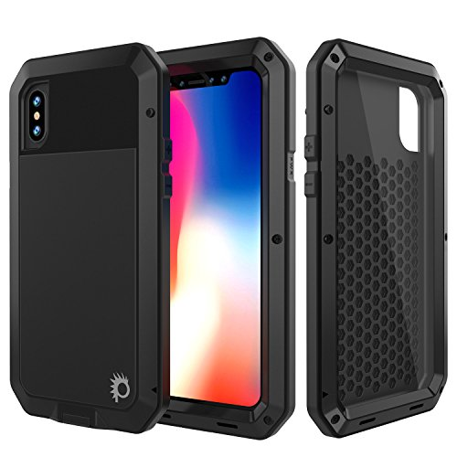 iPhone X Metal Case, Heavy Duty Military Grade Rugged Armor Cover [shock proof] Hybrid Full Body Hard Aluminum & TPU Design [non slip] W/Prime Drop Protection for Apple iPhone 10 (Aluminum Stand Gun Case)