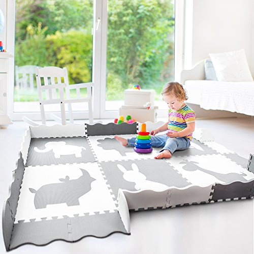 Baby Play Mat with Fence | Large 5′ x 7′ | Thick Interlocking Foam Floor Tiles with Safari Animals | Neutral, Non Toxic Baby Playmat for Infants, Toddlers and Kids | Grey and White For Sale