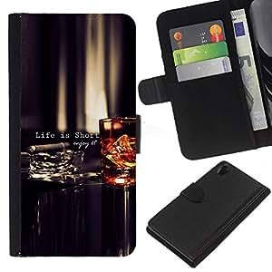 All Phone Most Case / Oferta Especial Cáscara Funda de cuero Monedero Cubierta de proteccion Caso / Wallet Case for Sony Xperia Z2 D6502 // Life Is Short Quote Enjoy Motivational
