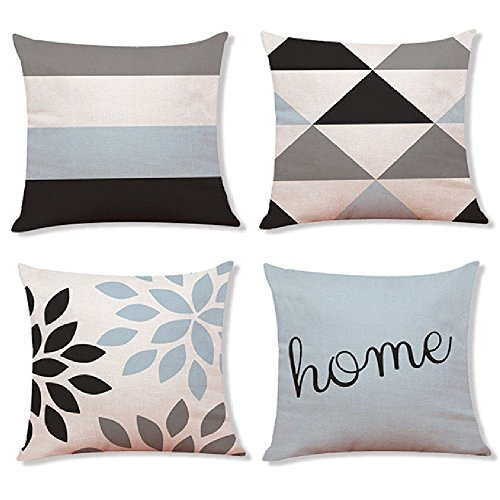 (Decemter 4PCS Geometric Tree Leaf Throw Cushion Cover Cotton Linen Pillowcase Home Decoration 18x18)