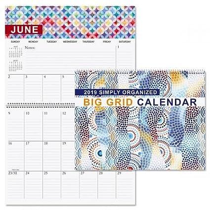 Amazon Com 2019 Simply Organized Big Grid Planning Calendar 12