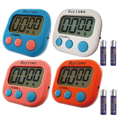 Ruyixws 4 Pack Digital Kitchen Timer with Large LCD Display,
