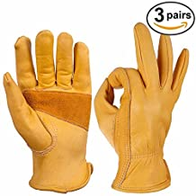 Leather Work Gloves, Ozero Grain Cowhide Glove for Motorcycle, Driving, Yard, Gardening - Perfect Fit - Good Grip Palm Padding - Elastic Wrist - 3 pairs Pack (Extra Large) by OZERO