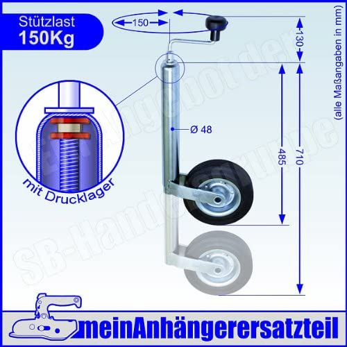 p4U St/ützrad Bugrad mit Drucklager 150 kg 48mm 48er Aufnahme f/ür Anh/änger Wohnwagen
