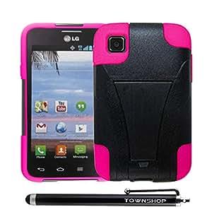 For LG Optimus Dynamic II L39C (StraightTalk/Net 10) Hot Pink/Black Dual Layer Hybrid with Townshop[TM] Stylus Pen