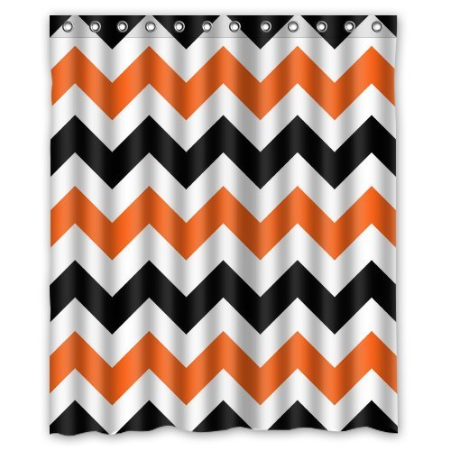 Amazon Com Custom Shower Curtain 60 X 72 Chevron Orange ClothingBeautiful Orange And Black Shower Curtain Photos   3D house   of Orange And Black Shower Curtain