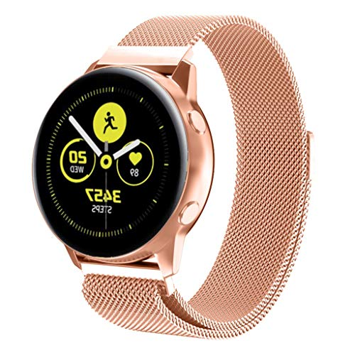 (Alimao Watchband Compatible with Samsung Galaxy Watch Active Watch Band,Stainless Steel Replacement Strap Magnetic Closure)