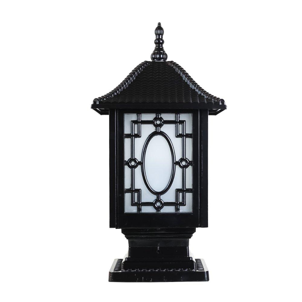 Americano impermeabile lampada da cortile fari Retro lampada da soffitto in alluminio pressofuso Luci lampada da parete esterna Lanterna luci IP44 impermeabile (Colore   nero-Height 43cm)