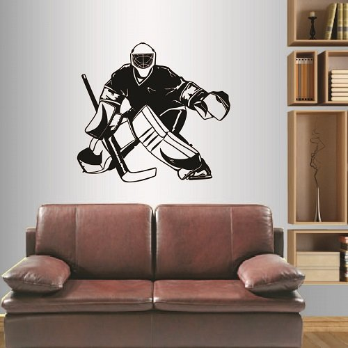 Wall Vinyl Decal Home Decor Art Sticker Hockey Player Sport Boy Kids Ice Rink Room Removable Stylish Mural Unique Design
