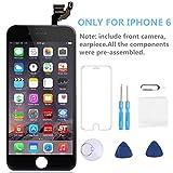 iPhone 6 Full Assembly Screen Replacement, P-zone LCD Touch Screen Display Digitizer Repair Kit with Facing Proximity Sensor + Ear Speaker + Front Camera + Screen Protector + Repair Tools (Black)
