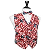 Wavy USA Flag Tuxedo Vest and Bow Tie Size Large Long