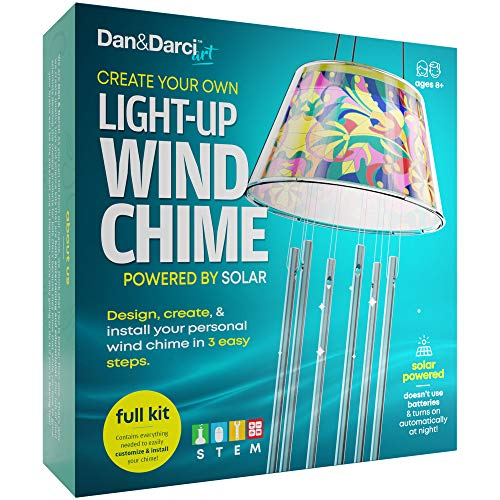 Dan&Darci Create Your Own Solar-Powered Light-up Wind Chime Kit - Color, Create and Install in 3 Easy Steps - STEM Science -