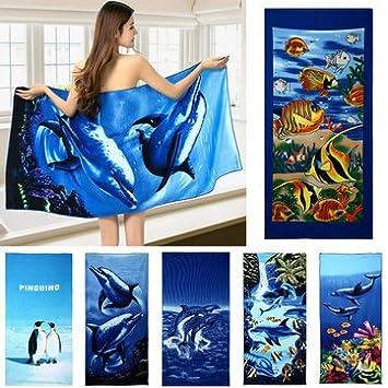 70 x 150 cm azul delfín pingüino Impresión absorbente toallas de playa de microfibra de secado rápido toalla de baño..: Amazon.es: Hogar