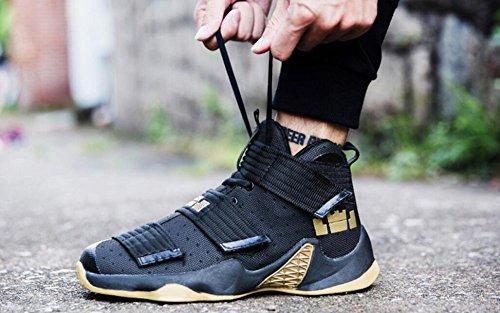 Männer Basketball Schuhe für Frauen Performance Sport Klett Turnschuhe von JiYe Schwarz Gelb-1