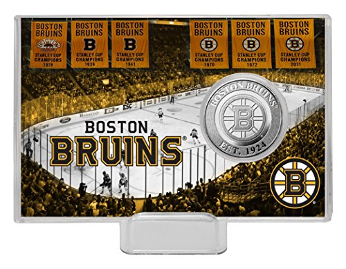 Photomint Coins Framed (The Highland Mint NHL Boston Bruins History Coin Card, Silver, 8
