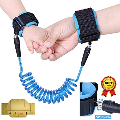 Anti Lost Wrist Link Safety Velcro Wrist Link for Toddlers, Babies & Kids (1.5m Blue)