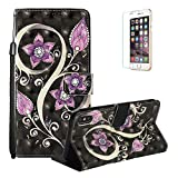 Sparkle Diamond Case for iPhone XS Max 6.5 inch [with Free Screen Protector],Funyye Elegant Premium Folio 3D Patterns PU Leather Soft Wallet Magnetic Flip Cover with [Wrist Strap] and [Built-in Credit Card Slots] Color Painted Pattern Design Stand Function Case for iPhone XS Max 6.5 inch,Peacock Flower
