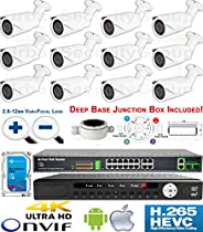 USG Premium Sony + Ambarella Chipset 12 Camera Security System H.265 Ultra 4K PoE IP CCTV Kit : 12x 2MP 2.8-12mm Bullet Camera + 1x 36 Channel 8MP NVR + 1x 18 Port PoE Network Switch + 1x 4TB HDD