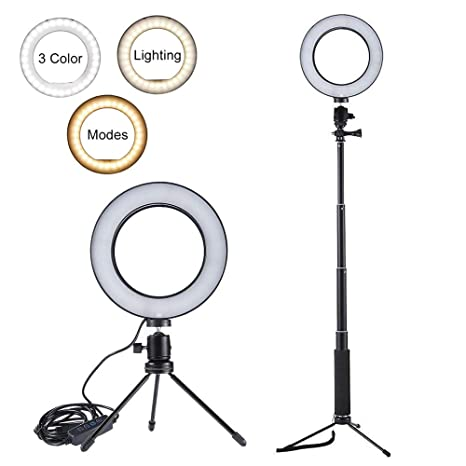 Mobile Phone Accessories 5.7 Led Fill Light Ring Dimmable Tripod Stand Phone Holder Desktop Camera Lamp Youtube Video Makeup Studio Photography Pure White And Translucent