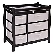 Costzon Baby Changing Table Infant Diaper Nursery Station w/6 Basket Storage Drawers (Coffee)