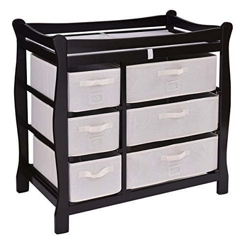 Costzon Baby Changing Table Infant Diaper Nursery Station w/6 Basket Storage Drawers (Coffee) by Costzon