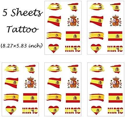CARGEN® Bandera De EspañA Tatuajes Temporales Para Partido De ...