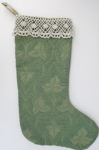 SHABBY CHIC CHRISTMAS STOCKING GREEN W/ STRIPE LINING LACE TRIM