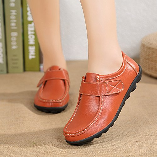 Orange Lightweight Penny Comfort Shoes Womens Shoes Rubber Breathable JULY Casual Loafers T Sole Flat qHZOxUnw