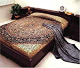 Bagroo Print Indian Bedspread, Twin Size