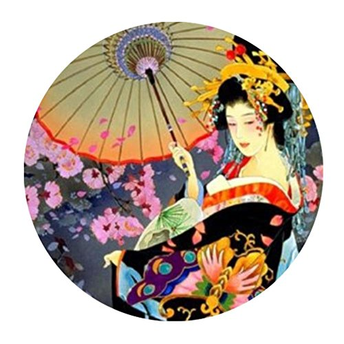 (LiFei Business Japanese Art Geisha Girl Psychedelic Background Mousepad Home/office Dust and Stain Resistant Hot Sale Fast Shipping(Round))