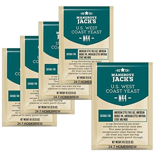 5x Mangrove Jack's Yeast M44 US West Coast Craft Series Yeast 10g treats 23L (Craft Coast)