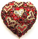 Ruby Red Cz Cubic Zirconian and Crystal Heart Brooch Pin