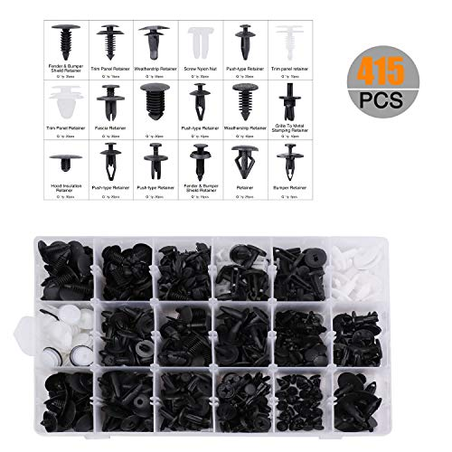 carsun 415 Pcs Car Retainer Clips & Plastic Fasteners Kit - 18 Most Popular Sizes Auto Push Pin Rivets Set