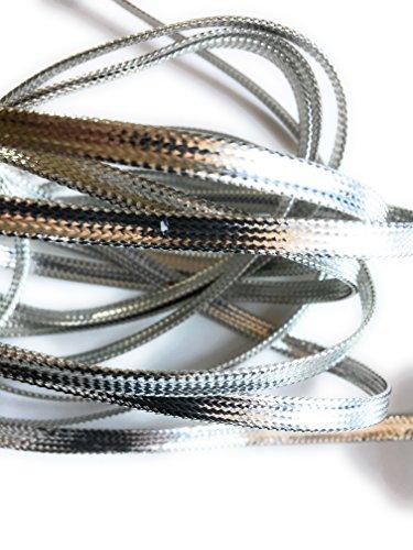 Silver Metallic Flat Braid Cord 1/2 mm Thick 5 Yards 1/4