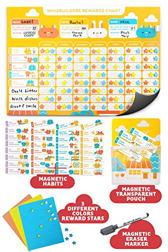 Behavior Chore Reward Chart for Multiple Kids - Potty Training Responsibility Magnetic Star Charts - Multiple Toddlers Dry Erase Easel Schedule - Wall Sticker Magnets Family Calendar Board Planner (Character Education Activities For High School Students)