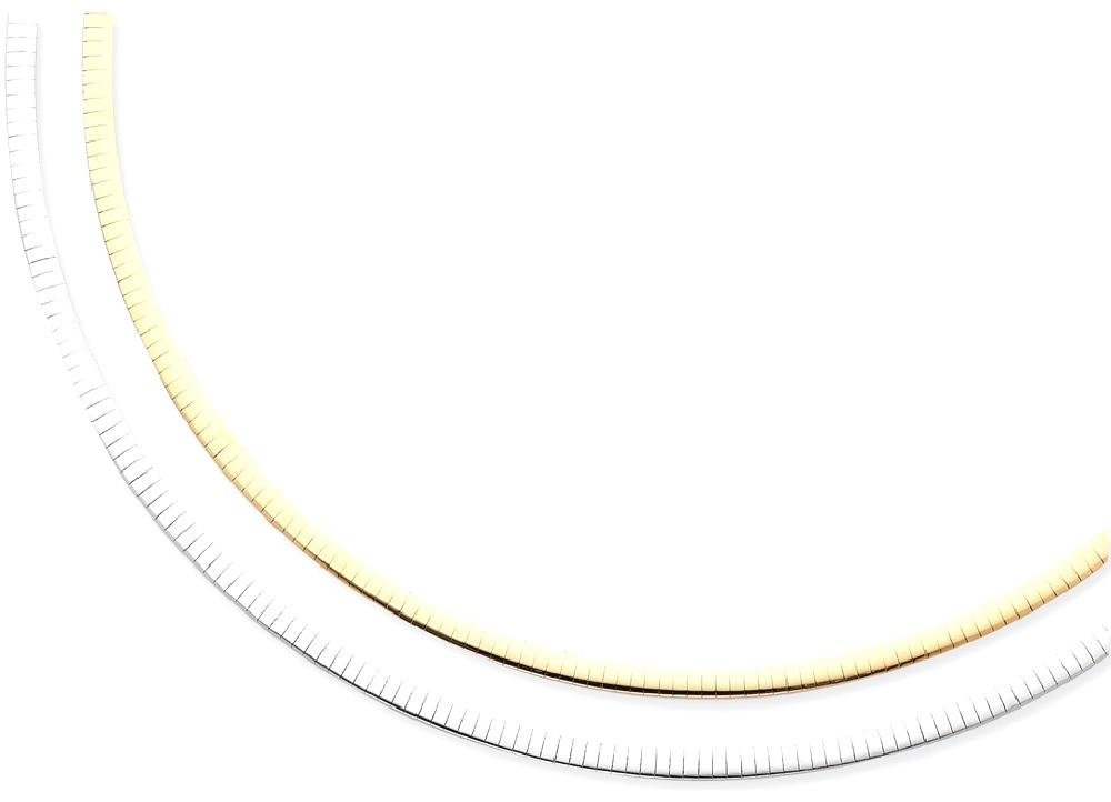 ICE CARATS 14k Two Tone Yellow Gold Reversible 4mm Omega Extender Chain Necklace Fine Jewelry Gift Set For Women Heart