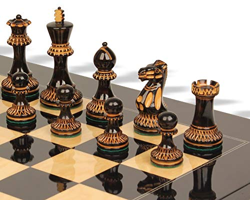 (Parker Staunton Chess Set Burnt Boxwood Pieces with Black Ash Burl Chess Board - 3.75
