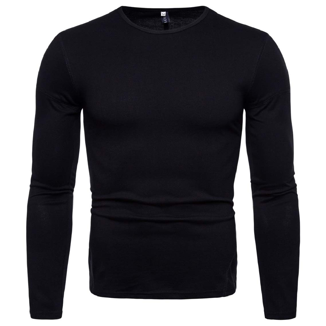 GodeyesMen Comfort O-Neck Long Sleeves Solid Cotton Polo T-Shirts