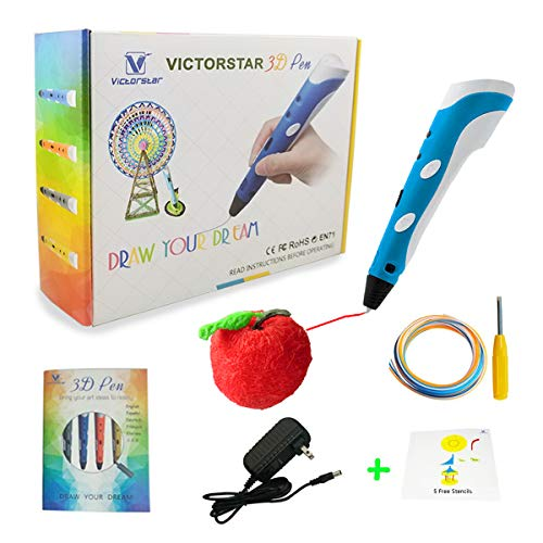 3D Pen with Paper Stencils and Screwdriver/Using Military Motor - VICTORSTAR RP100A Blue for 3D Drawing 3D doodling/Compatible with ABS PLA Filament + 5 Stencils + Adapter + Filament + ()