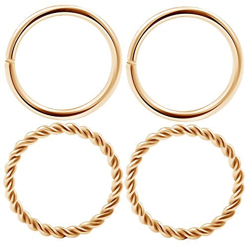 4pcs Nose Hoop Rings Rose PVD plated surgical steel seamless ring 16g (1.2mm) with a twisted wire design Septum CNCV 10mm