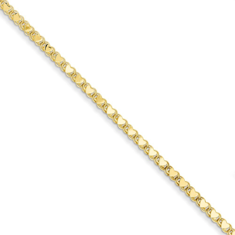 14K Yellow Gold Polished Double-Sided Heart Anklet