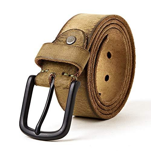 Canvas Belt Head Layer Cowhide Matte Belt High-Grade Leather Belt Men's Belt Alloy Pin Buckle with New Leather Belt (Color : Olive, Size : 115cm) ()