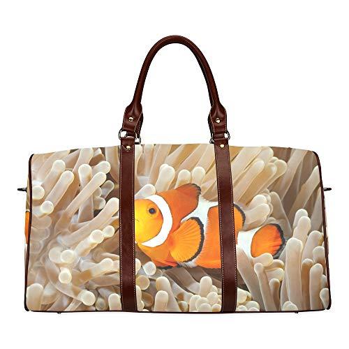 (Travel Duffel Bag Clown Fish Anemone And Clown Waterproof Weekender Bag Overnight Carryon Hand Bag Women Ladies Tote Bag With Microfiber Leather Luggage Bag)