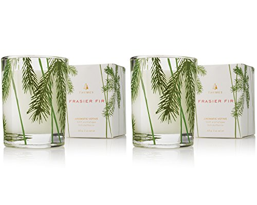 Glass Aromatic Candle (Thymes - Fragrant Frasier Fir Votive Candle with 15-Hour Burn Time - 2 Ounces, Set of 2)